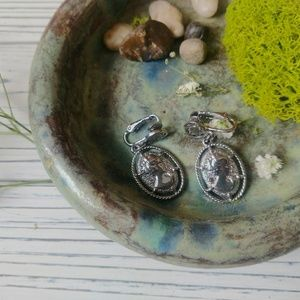 antique vintage clip-on earrings Victorian cameo